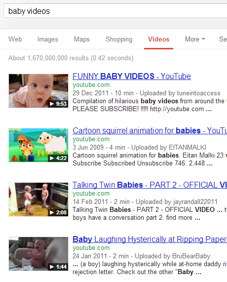 search for baby videos in Google