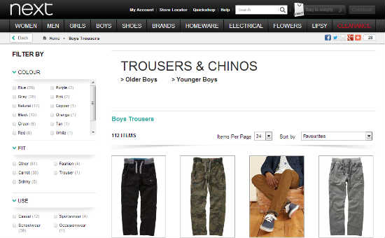 Screen Grab Boys Trousers next.co.uk