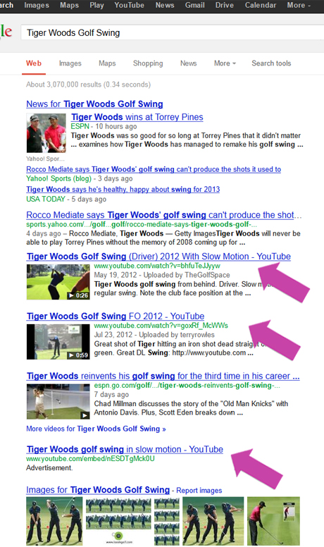 Tiger Woods search results for 'Tiger Woods Golf Swing'