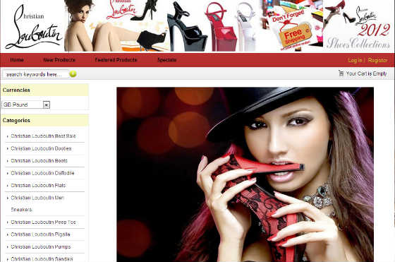 Screen Shot of Counterfeit Website 1