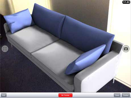Example of an augmented reality sofa