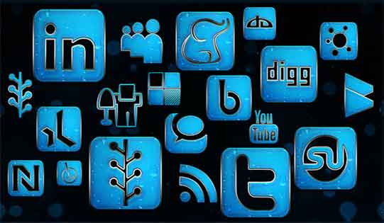 Supporting graphic - styleised social media icons