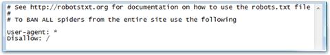 Screenshot of robots.txt file