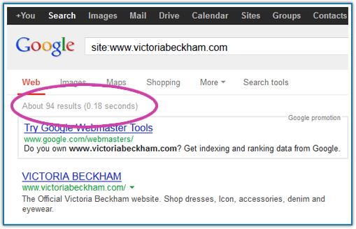 Screengrab of results