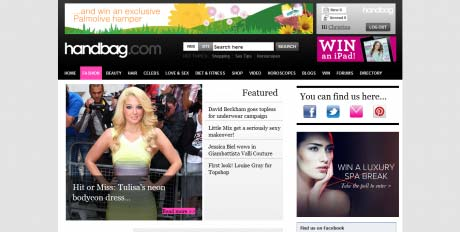 Handbag website screen grab