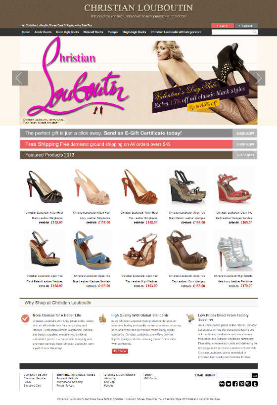 Screen Shot of Counterfeit Website 2