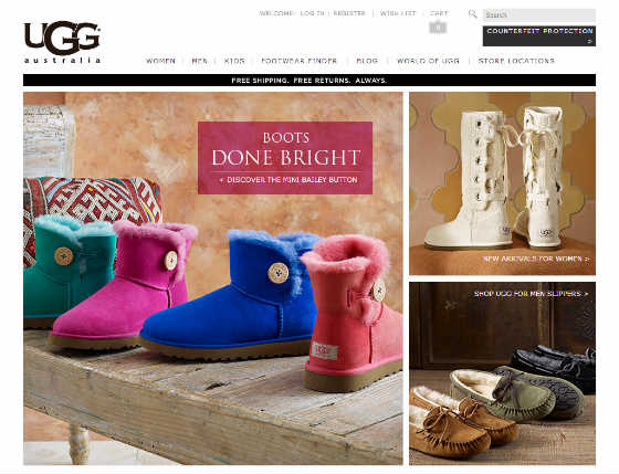 Screen Shot of UGG Australia Site