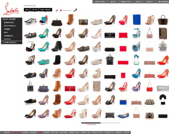 Screen Shot of Official Christian Louboutin Site