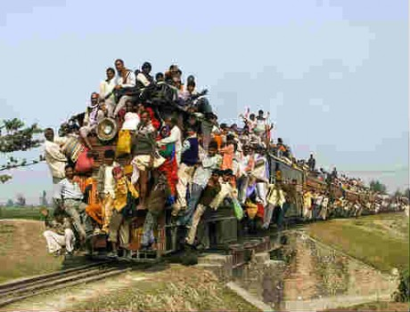 A crowd on the train