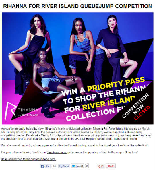 Screenshot - River island Style Insider Blog Rihanna Competition - riverisland.com