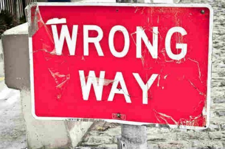 picture of a street sign saying wrong way Source: Flickr