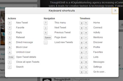 Screen capture of keyboard shortcuts