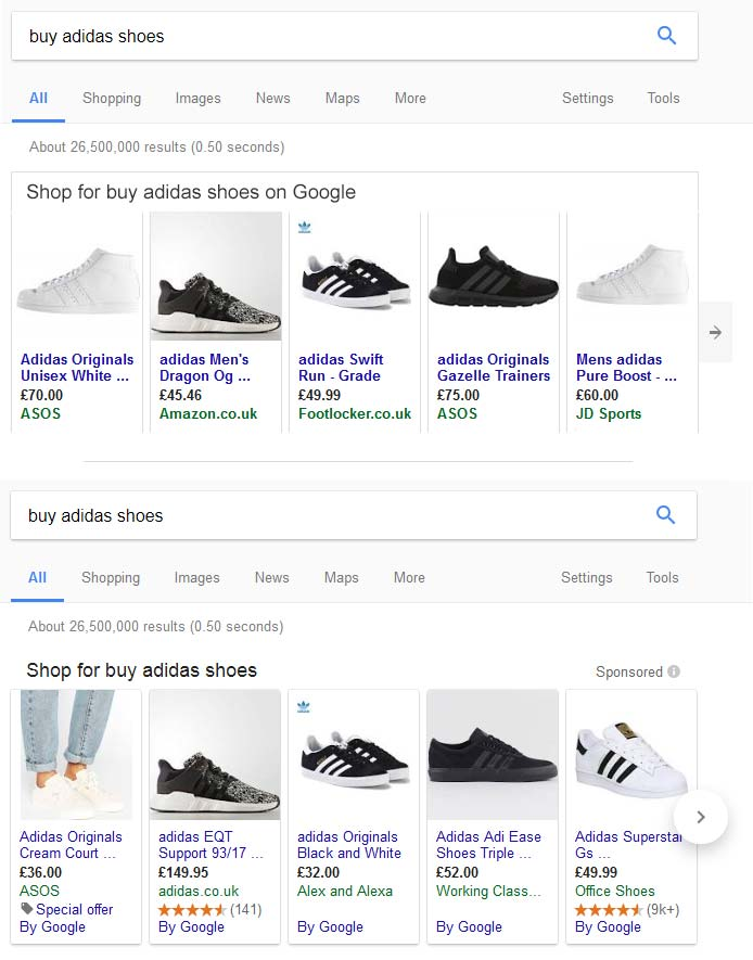 Google shopping ad comparison