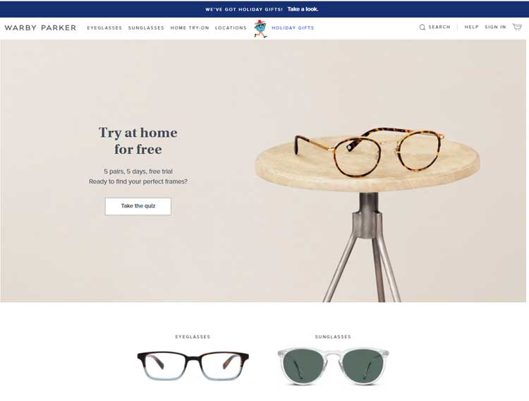 Warby Parker Screenshot