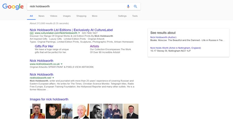 Nick holdsworth - search results - screenshot