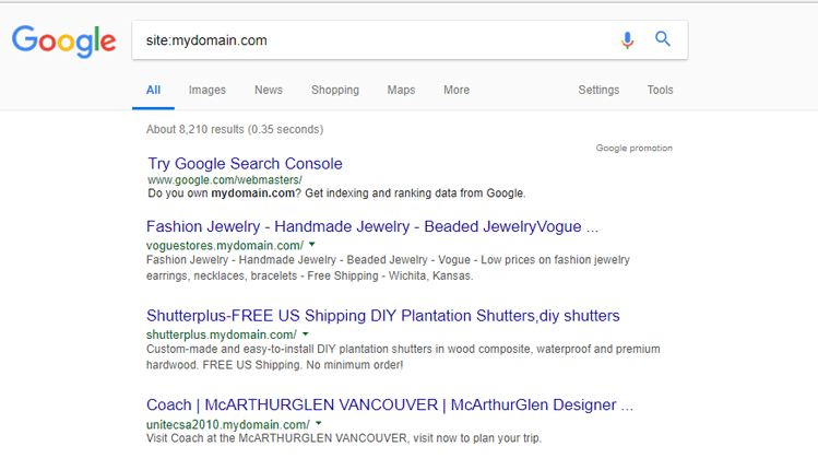 Google search results for site:
