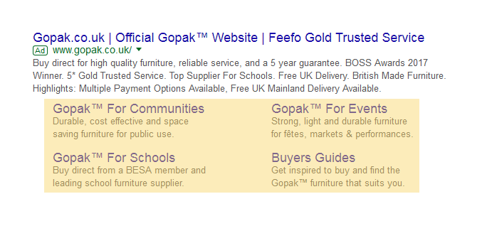 Ehnaced sitelinks screenshot