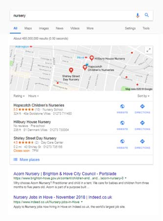 Search results with map