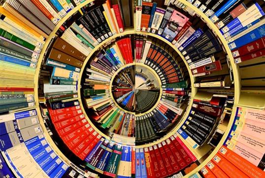 A spiral of books