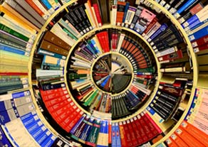 A spiral of books