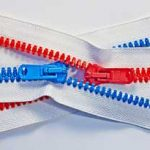 Red and blue zips