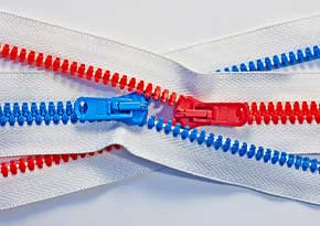 Coloured zippers