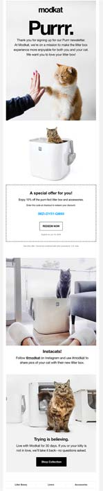 Omnisend modkat welcome email