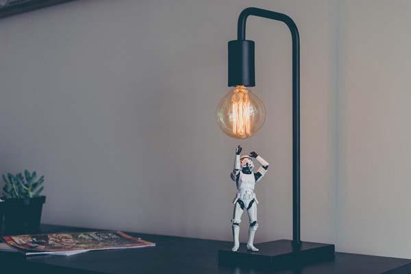 Star wars figure under light