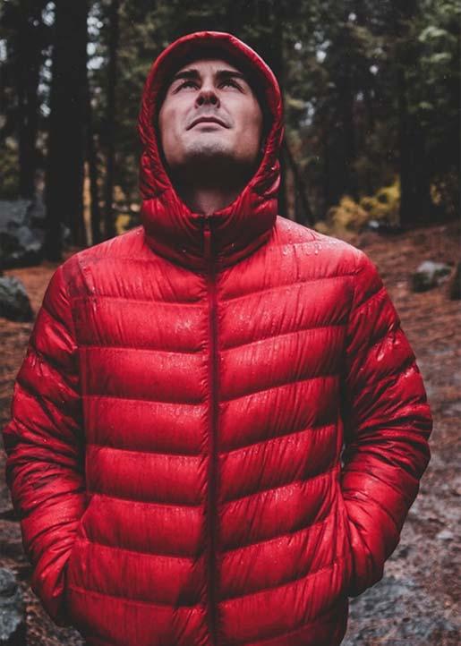 Man in red waterproof jacket