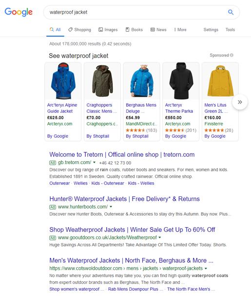 Waterproof jacket google search results