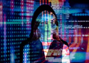 Woman amidst code